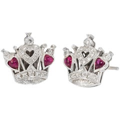 Queen of Hearts Diamond Ruby Stud Earrings Estate 18 Karat Gold Fine Vintage