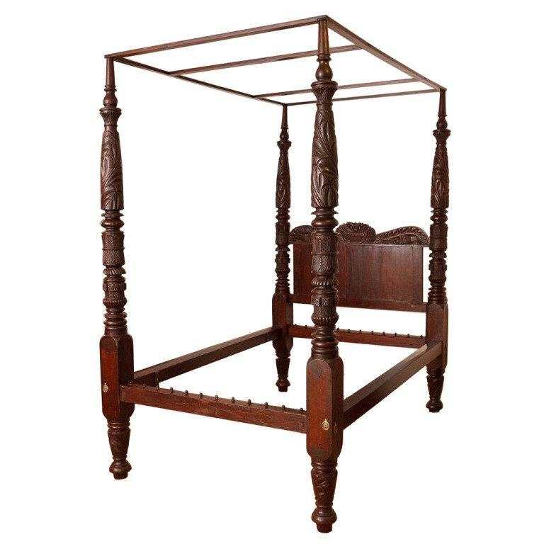 Queen size four poster american empire bed philadelphia - Four poster bedroom sets for sale ...