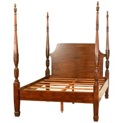 Queen Size Mahogany Rice Carved Poster Bed by Leighton Hall