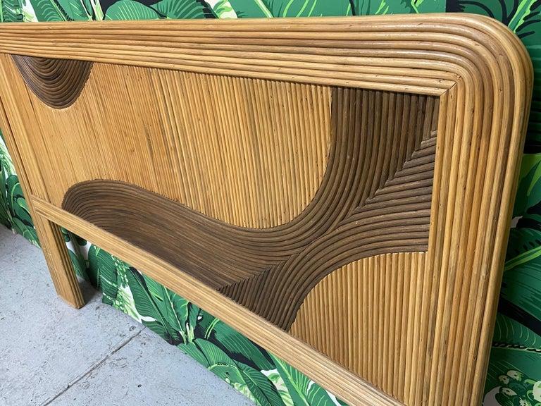Bohemian Queen Size Rattan Split Reed Headboard  For Sale