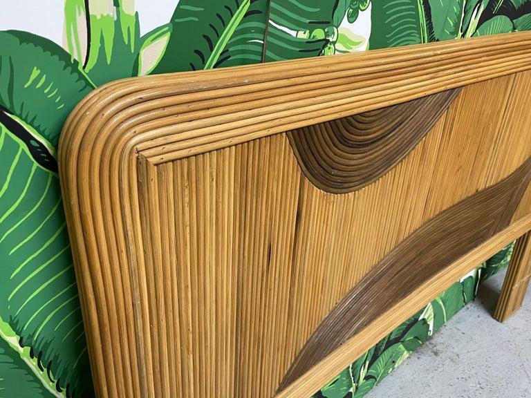 Queen Size Rattan Split Reed Headboard  In Good Condition For Sale In Jacksonville, FL
