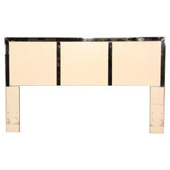 Queen Size White Lacquer and Chrome Mid-Century Modern Queen Size Headboard Bed