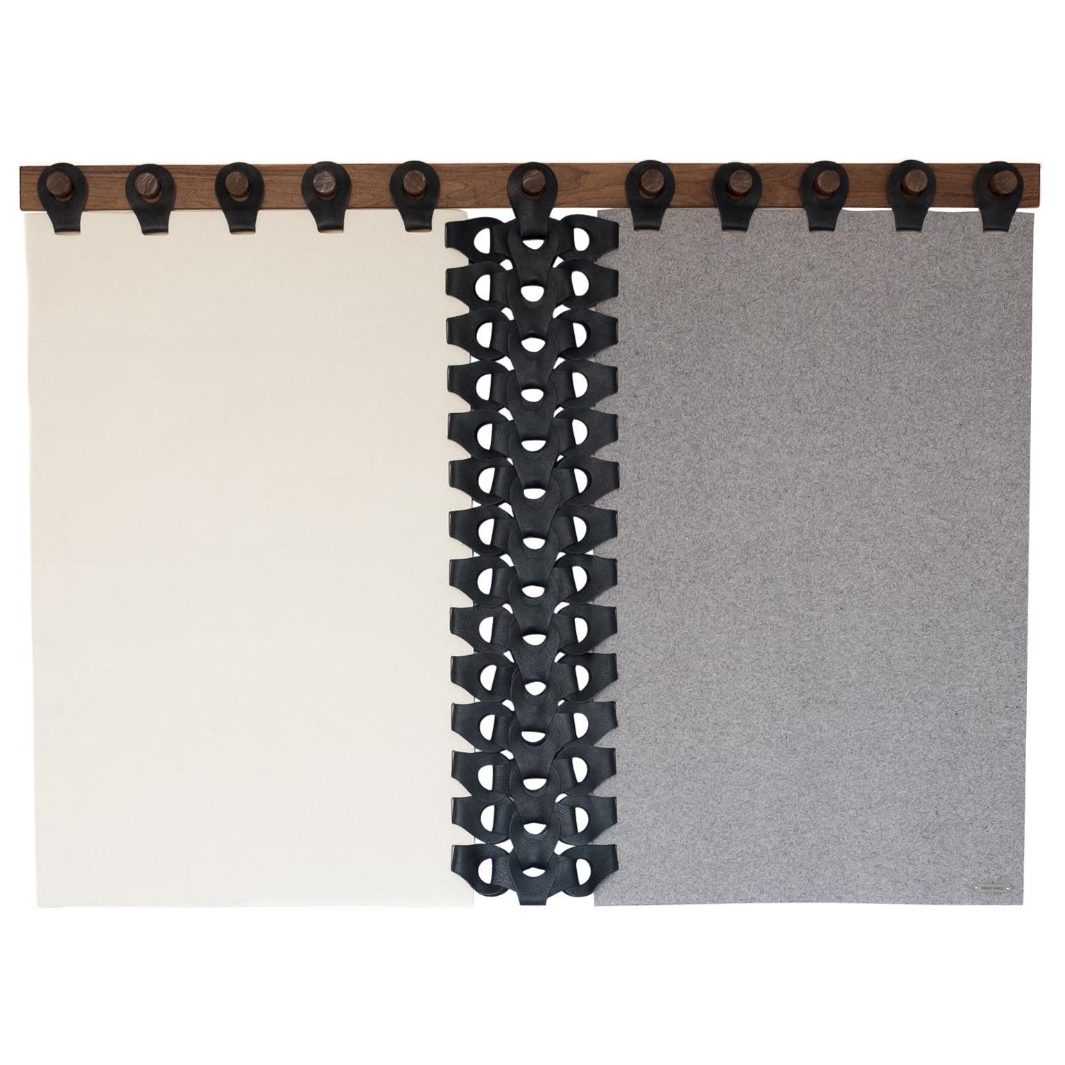 """Vertebrae Headboard Tapestry 72"""" by Moses Nadel in Grey, Cream and Black"""