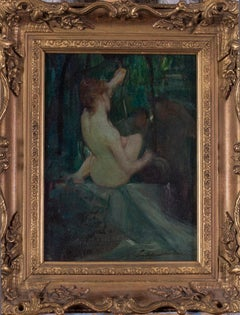 Original French Impressionist oil painting of a nude by a well, green tones