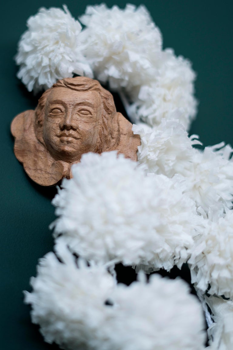 Brazilian Rosary with Wood Querubins and Crepom Paper For Sale