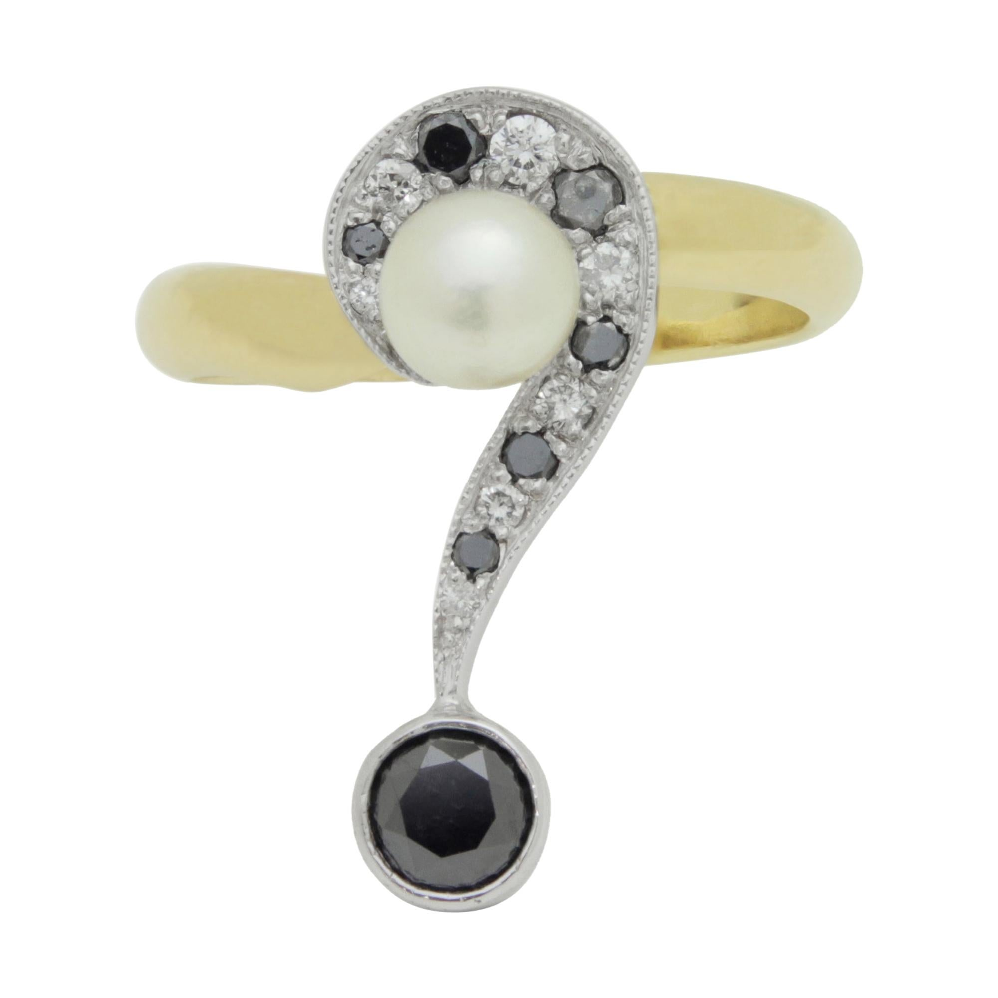 'Question Mark' Ring in 14 Karat Gold with Diamonds and a Pearl