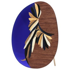 Quetzal Blue Mirror by Mool, Decorative Item Marquetry