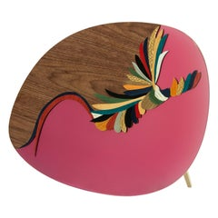 Quetzal Pink Mirror by Mool, Decorative Item Marquetry