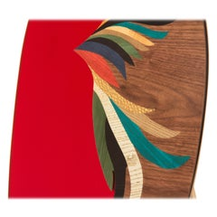 Quetzal Red Mirror by Mool, Decorative Item Marquetry