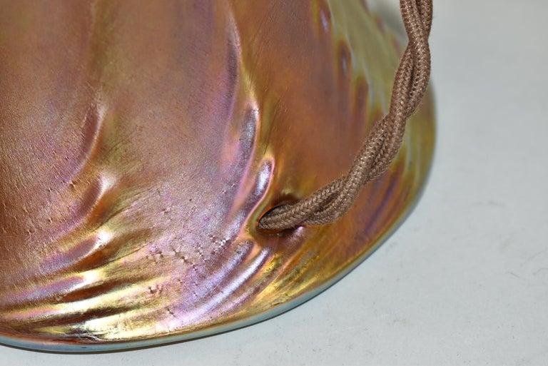 Quezal Art Glass Table Lamp Brass Mounts For Sale 2