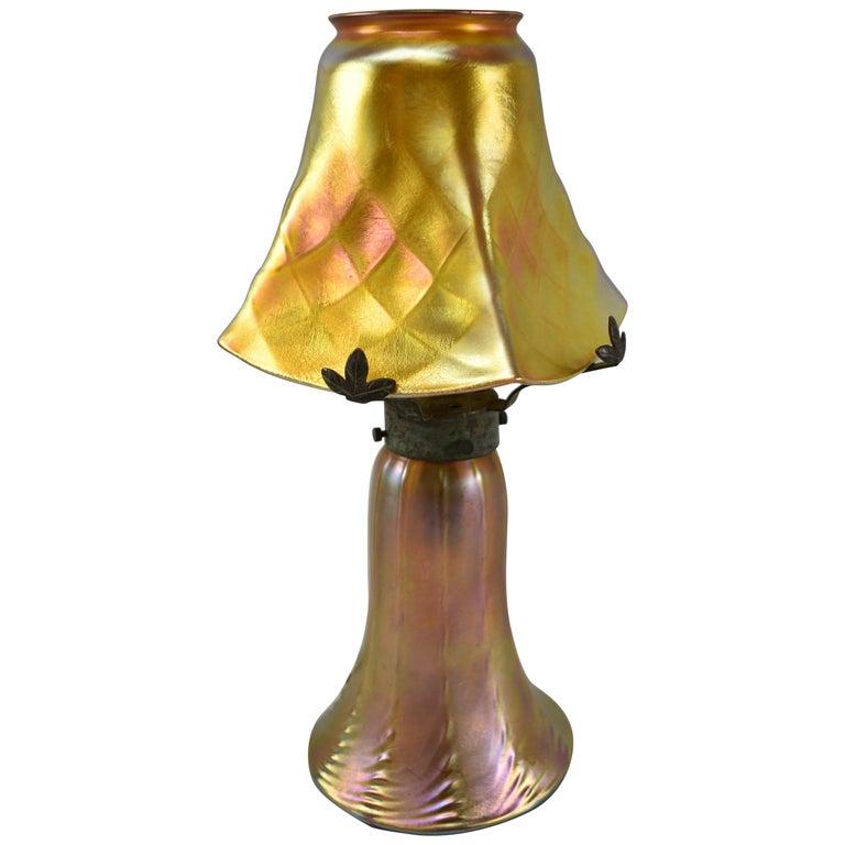 Quezal Art Glass Table Lamp Brass Mounts For Sale