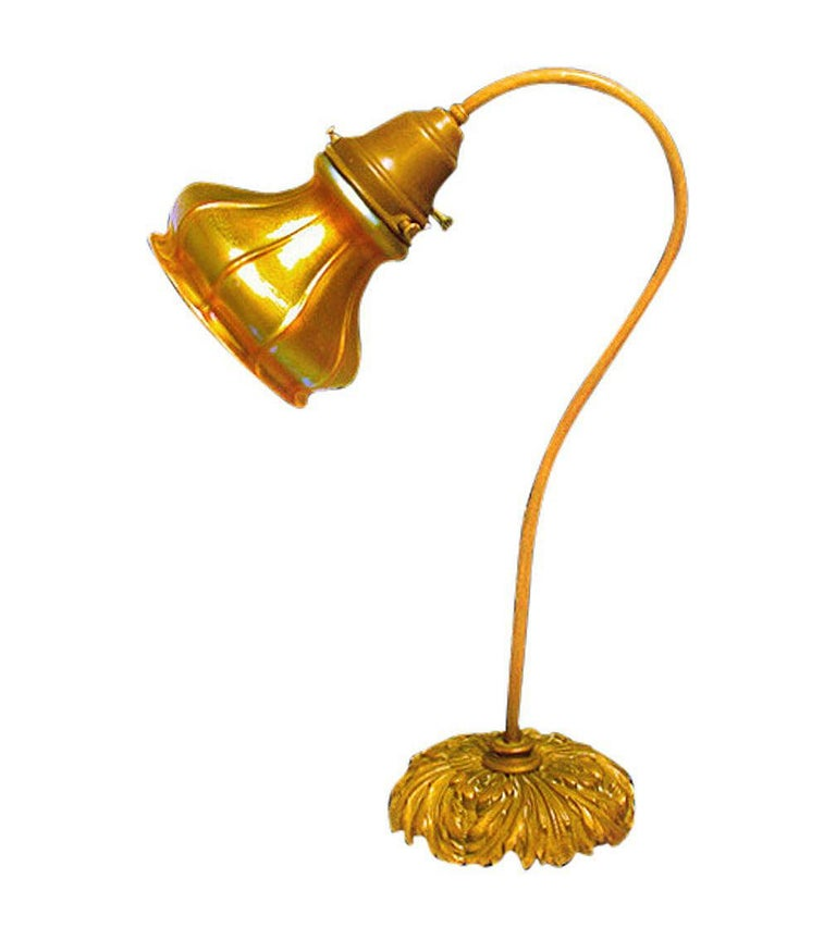 American Quezal Glass Desk Lamp, circa 1910 For Sale