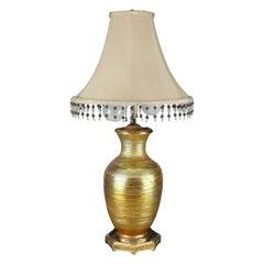 Antique Durand Slip Trail Art Glass Lamp, Circa 1920