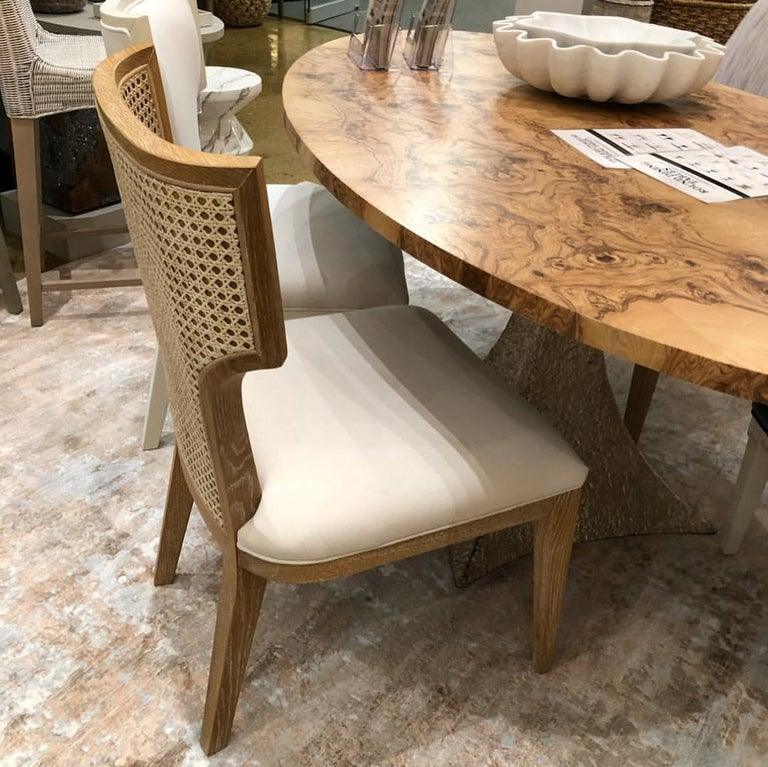 Woven Quickship - Set of 8 Mid-Century Modern Cane Backed Dining Chairs in Solid Oak For Sale