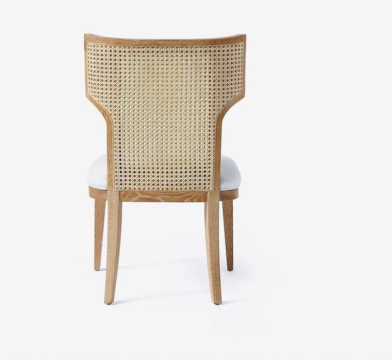 Quickship - Set of 8 Mid-Century Modern Cane Backed Dining Chairs in Solid Oak In New Condition For Sale In New York, NY