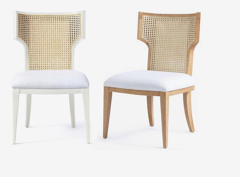 Quickship - Set of 8 Mid-Century Modern Cane Backed Dining Chairs in Solid Oak For Sale 1