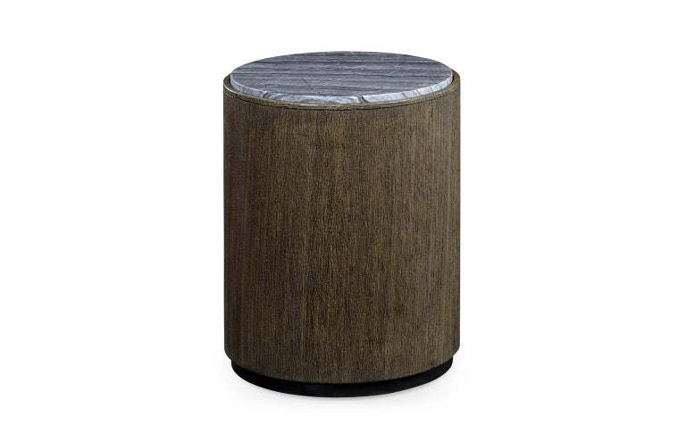 European Quickship, Two Outdoor Round Oak End Tables with Grey Marble Top For Sale