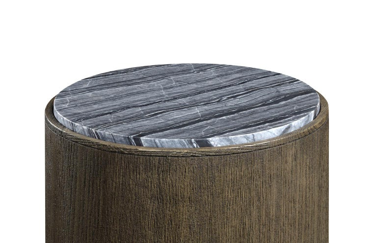 Contemporary Quickship, Two Outdoor Round Oak End Tables with Grey Marble Top For Sale