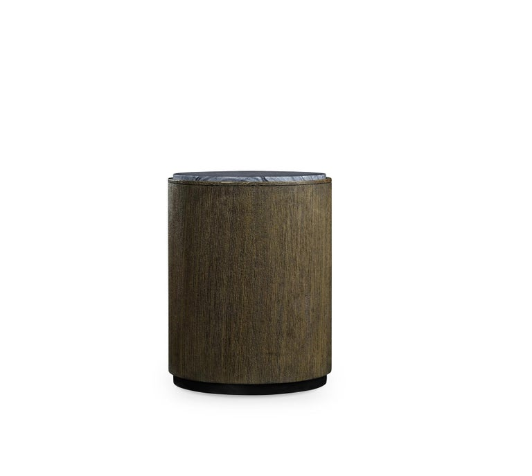 Modern Quickship, Two Outdoor Round Oak End Tables with Grey Marble Top For Sale