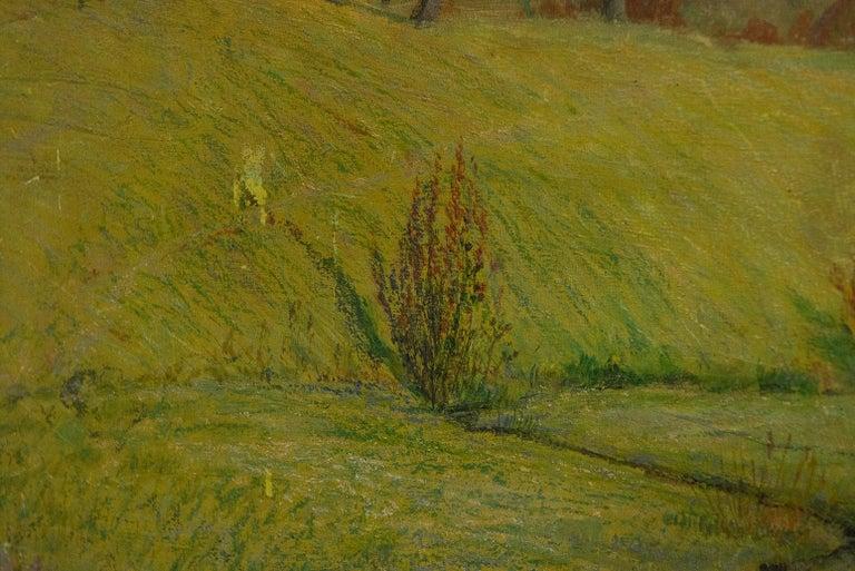 Quiet Countryside Landscape Vintage Austrian Painting For Sale 4