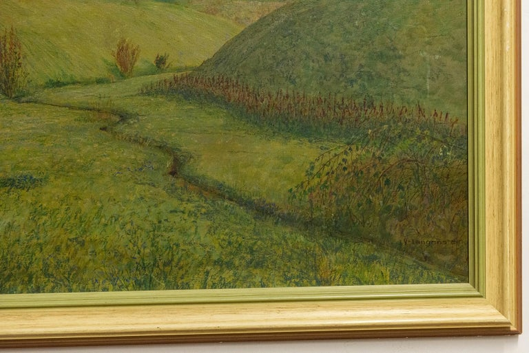Hand-Painted Quiet Countryside Landscape Vintage Austrian Painting For Sale