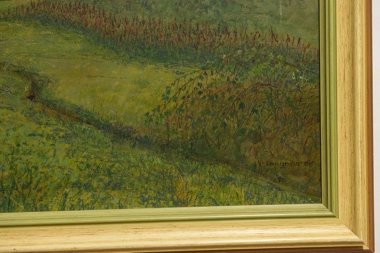 Quiet Countryside Landscape Vintage Austrian Painting In Excellent Condition For Sale In Alessandria, Piemonte