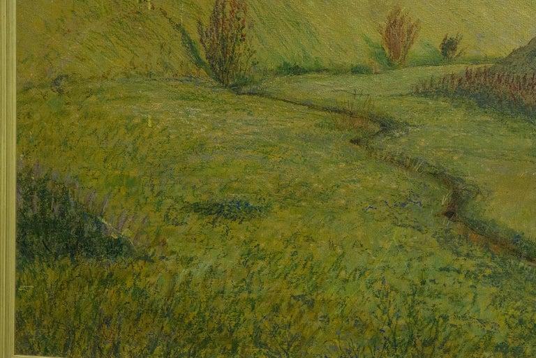 20th Century Quiet Countryside Landscape Vintage Austrian Painting For Sale