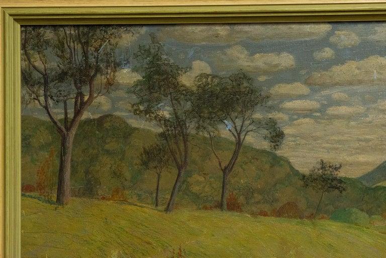 Fruitwood Quiet Countryside Landscape Vintage Austrian Painting For Sale