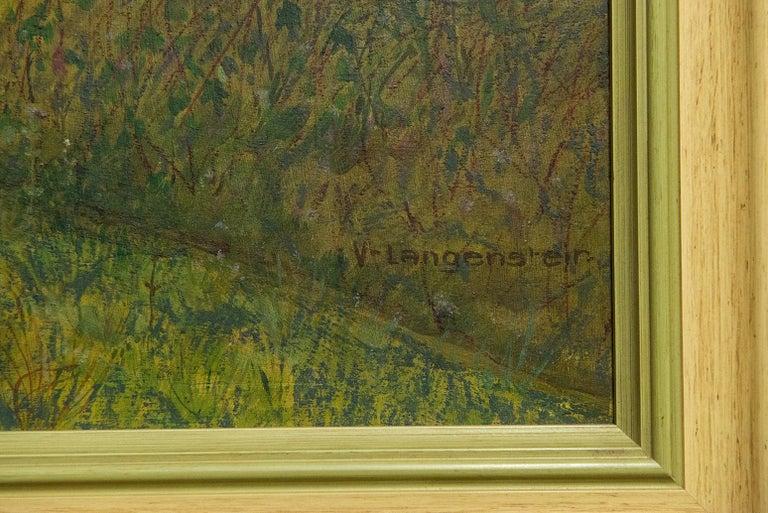 Quiet Countryside Landscape Vintage Austrian Painting For Sale 1