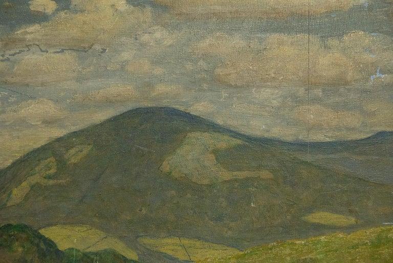 Quiet Countryside Landscape Vintage Austrian Painting For Sale 2