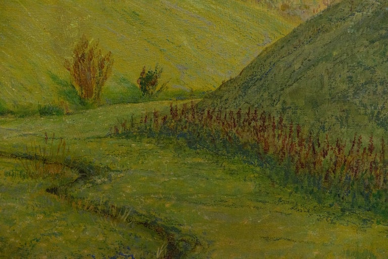 Quiet Countryside Landscape Vintage Austrian Painting For Sale 3