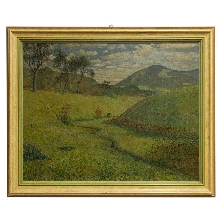 Quiet Countryside Landscape Vintage Austrian Painting For Sale