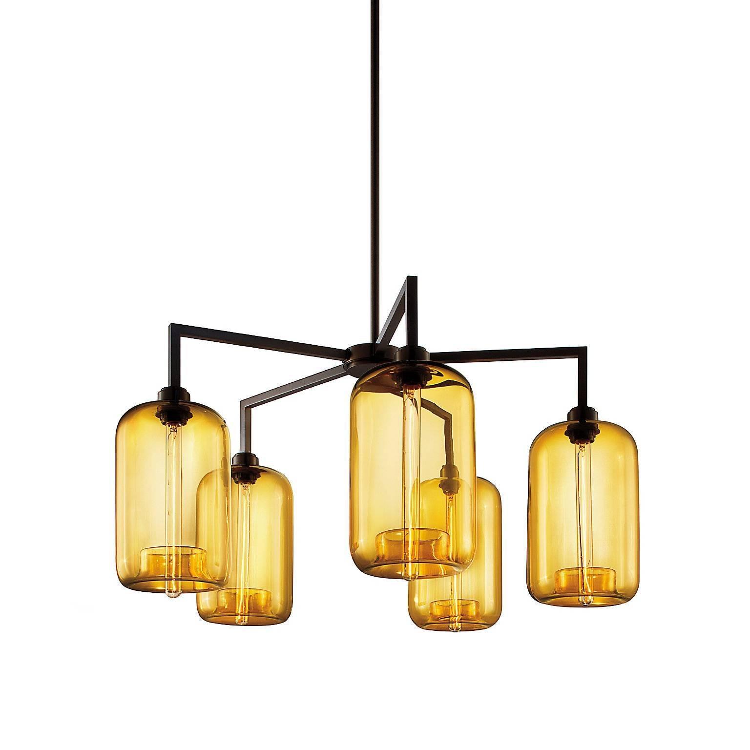 Quill Amber Pod Handblown Modern Glass Matte Black Chandelier Light