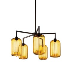 Quill Amber Pod Handblown Modern Glass Matte Black Chandelier Light