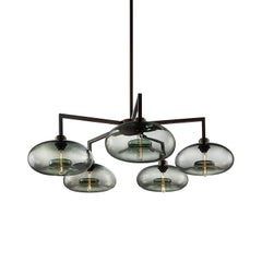 Quill Gray Aurora Handblown Modern Glass Matte Black Chandelier Light