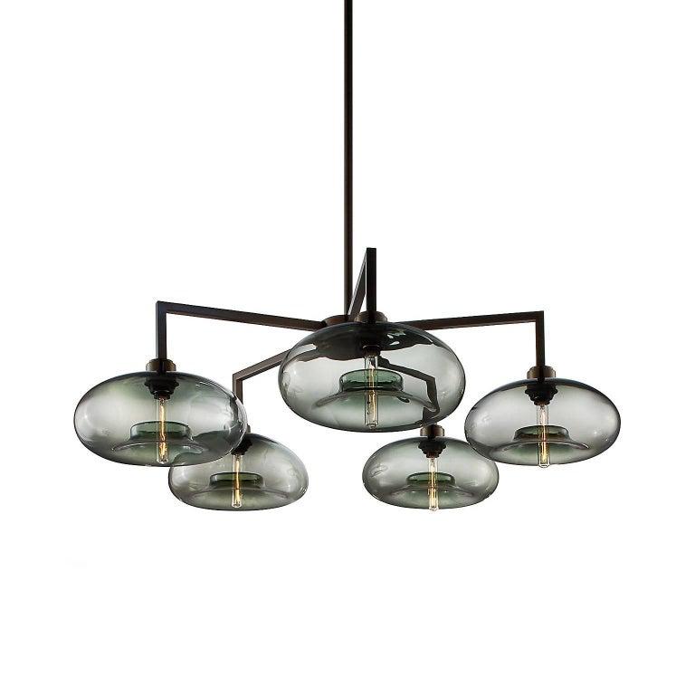 Quill Gray Aurora Handblown Modern Glass Matte Black Chandelier Light For Sale