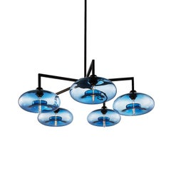 Quill Sapphire Aurora Handblown Modern Glass Matte Black Chandelier Light