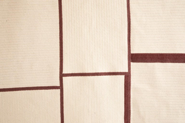 Modern Quilt Braided Wool Contemporary Abstract Minimalist Sculptural Rug For Sale