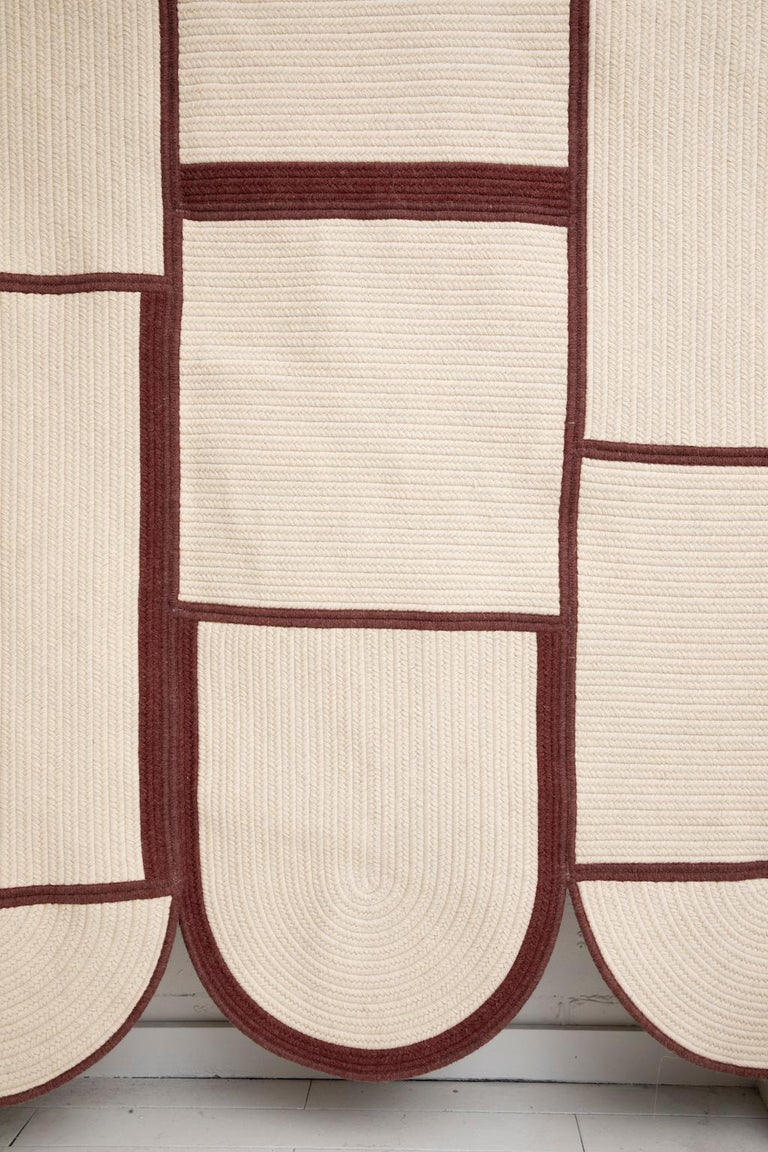 Quilt Braided Wool Contemporary Abstract Minimalist Sculptural Rug For Sale 3