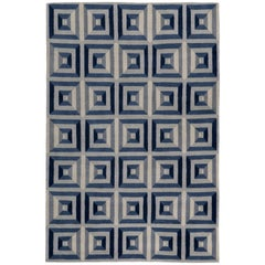 Quilt Indigo Hand-Knotted 10x8 Rug in Wool by Katrin Cargill