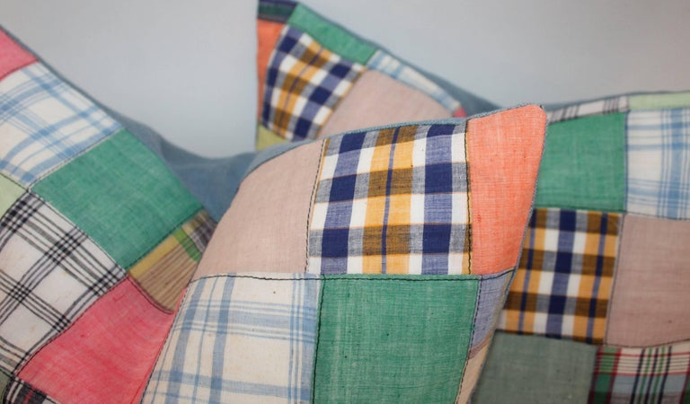 Cotton Quilt Patch Pillows / Collection of Four For Sale