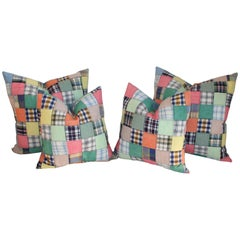 Quilt Patch Pillows / Collection of Four