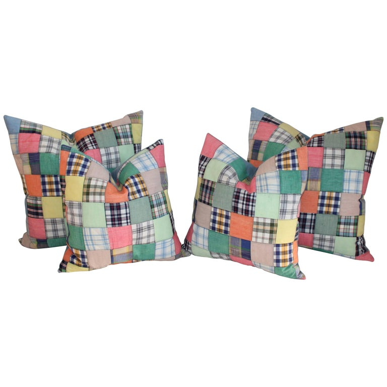 Quilt Patch Pillows / Collection of Four For Sale