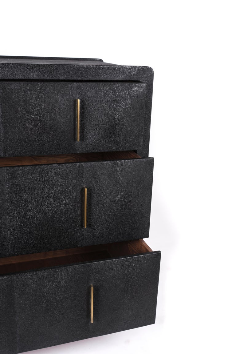 Art Deco Quilted Chest of Drawers in Black Shagreen by R&Y Augousti For Sale