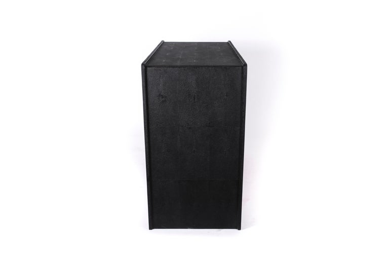 French Quilted Chest of Drawers in Black Shagreen by R&Y Augousti For Sale