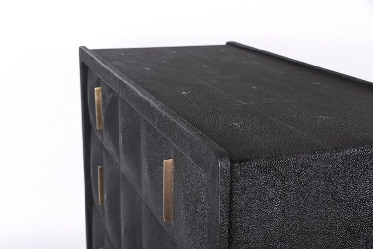 Hand-Crafted Quilted Chest of Drawers in Black Shagreen by R&Y Augousti For Sale
