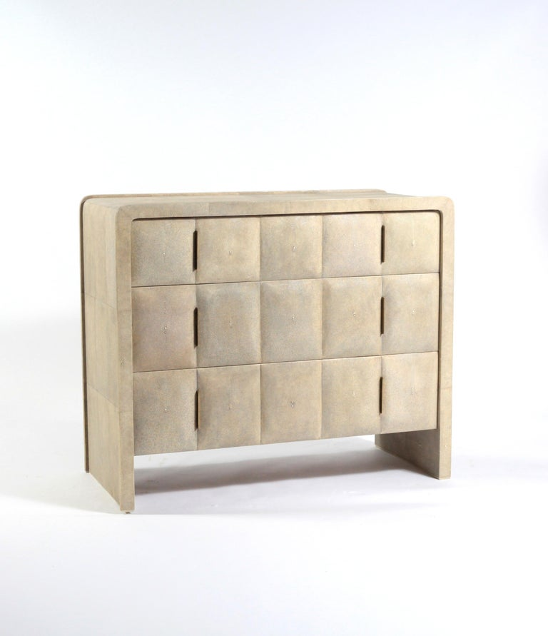 Contemporary Quilted Chest of Drawers in Black Shagreen by R&Y Augousti For Sale
