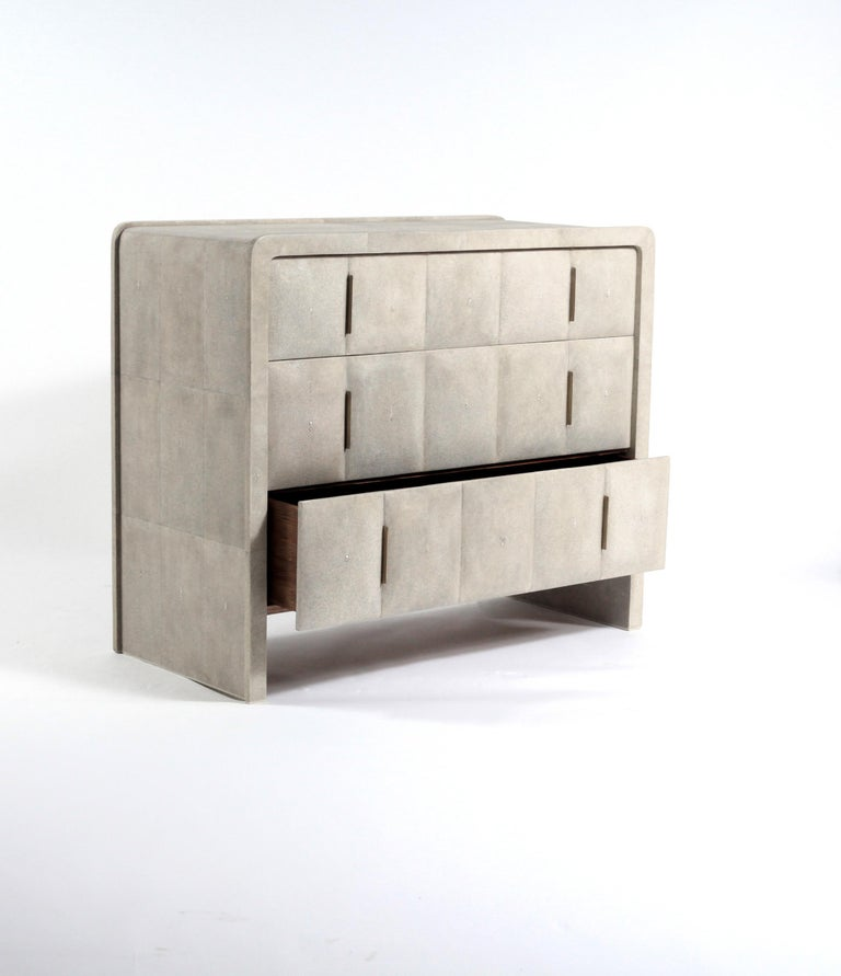 Brass Quilted Chest of Drawers in Black Shagreen by R&Y Augousti For Sale