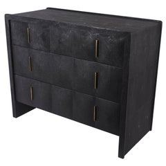 Quilted Chest of Drawers in Black Shagreen by R&Y Augousti