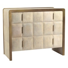 Quilted Chest of Drawers in Cream Shagreen & Bronze-Patina Brass by R&Y Augousti